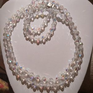 Vintage 1950's irredescent crystal bead necklace